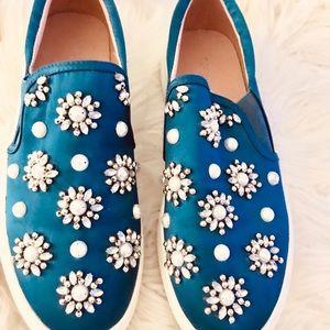 Shoes - TOP SHOP BLUE SATIN ADORNED SLIP ONS